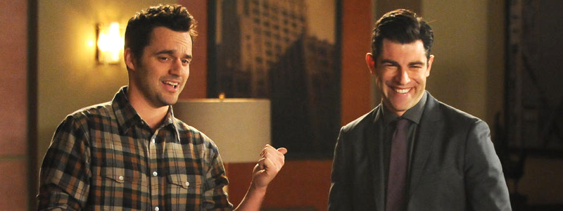 "NEW GIRL: Nick (Jake Johnson, L) and Schmidt (Max Greenfield, R) present their new business venture - the ""Swuit"" to a group of entrepreneurs in the ""Swuit"" episode of NEW GIRL airing Tuesday, Feb. 3 (9:00-9:30 PM ET/PT) on FOX. ©2015 Fox Broadcasting Co. Cr: Ray Mickshaw/FOX"