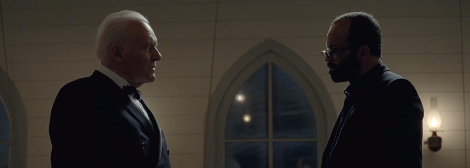 dr ford and bernard in church westworld