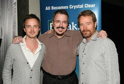 Da sinistra: Aaron Paul, Vince Gilligan e Bryan Cranston