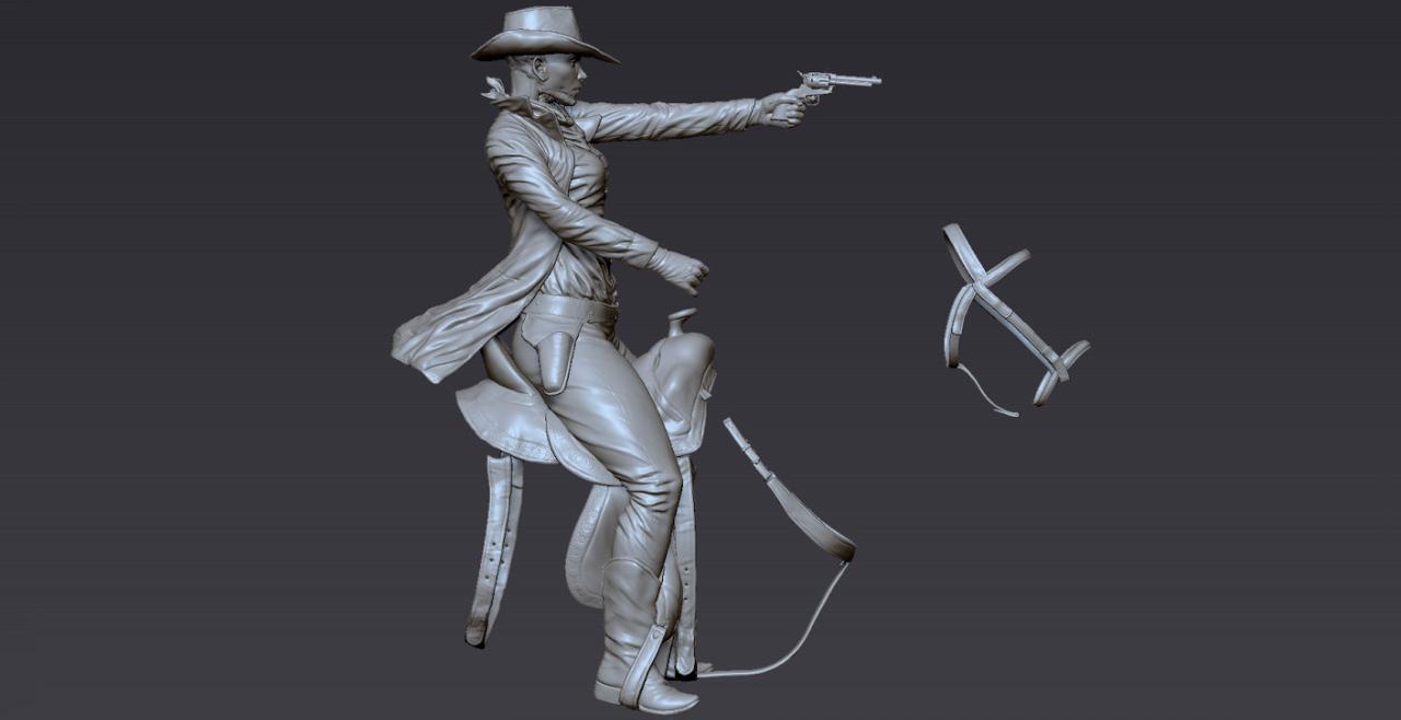 Modello della cowgirl in sella