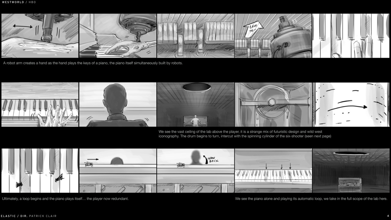 Storyboard dei titoli d'apertura (clicca per ingrandire)