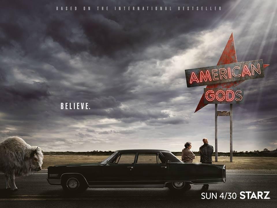 Poster con la data di rilascio di American Gods